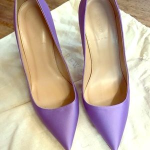 J crew purple satin pumps